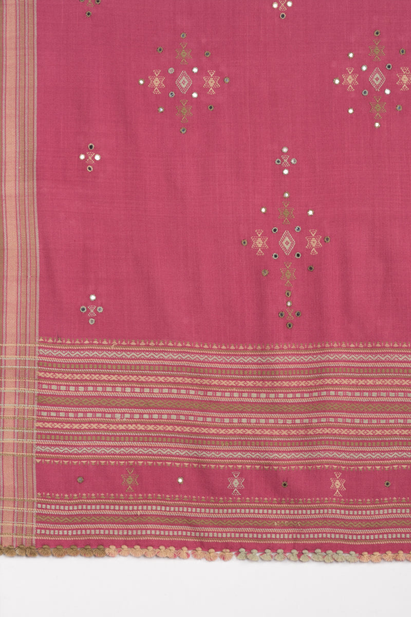 Mirror Work W/Thick Border Embroidery Wool Shawl - Pink