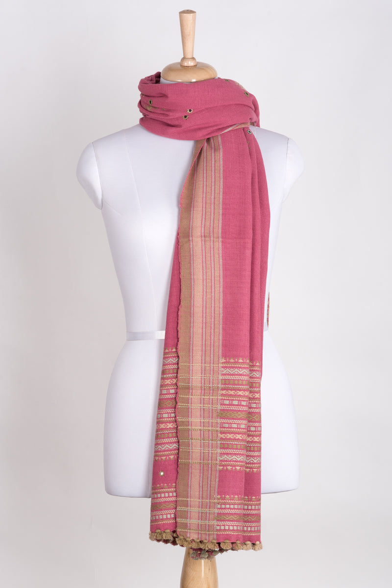 Mirror Work with Thick Border Embroidery Wool Shawl - Pink