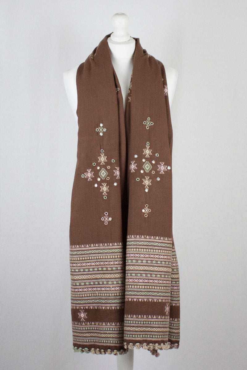 Mirror Work W/Thick Border Embroidery Wool Shawl - Brown