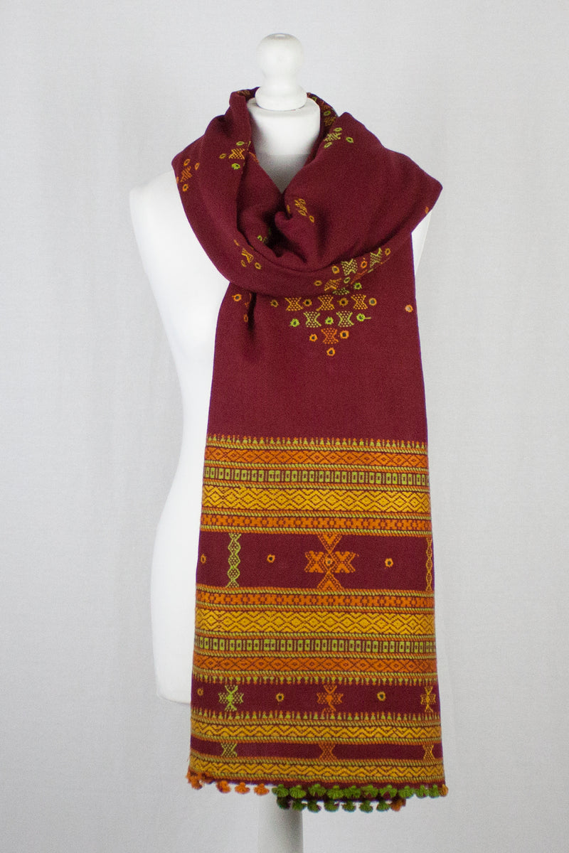 Mirror Work W/Thick Border Embroidery Wool Shawl - Berry Red