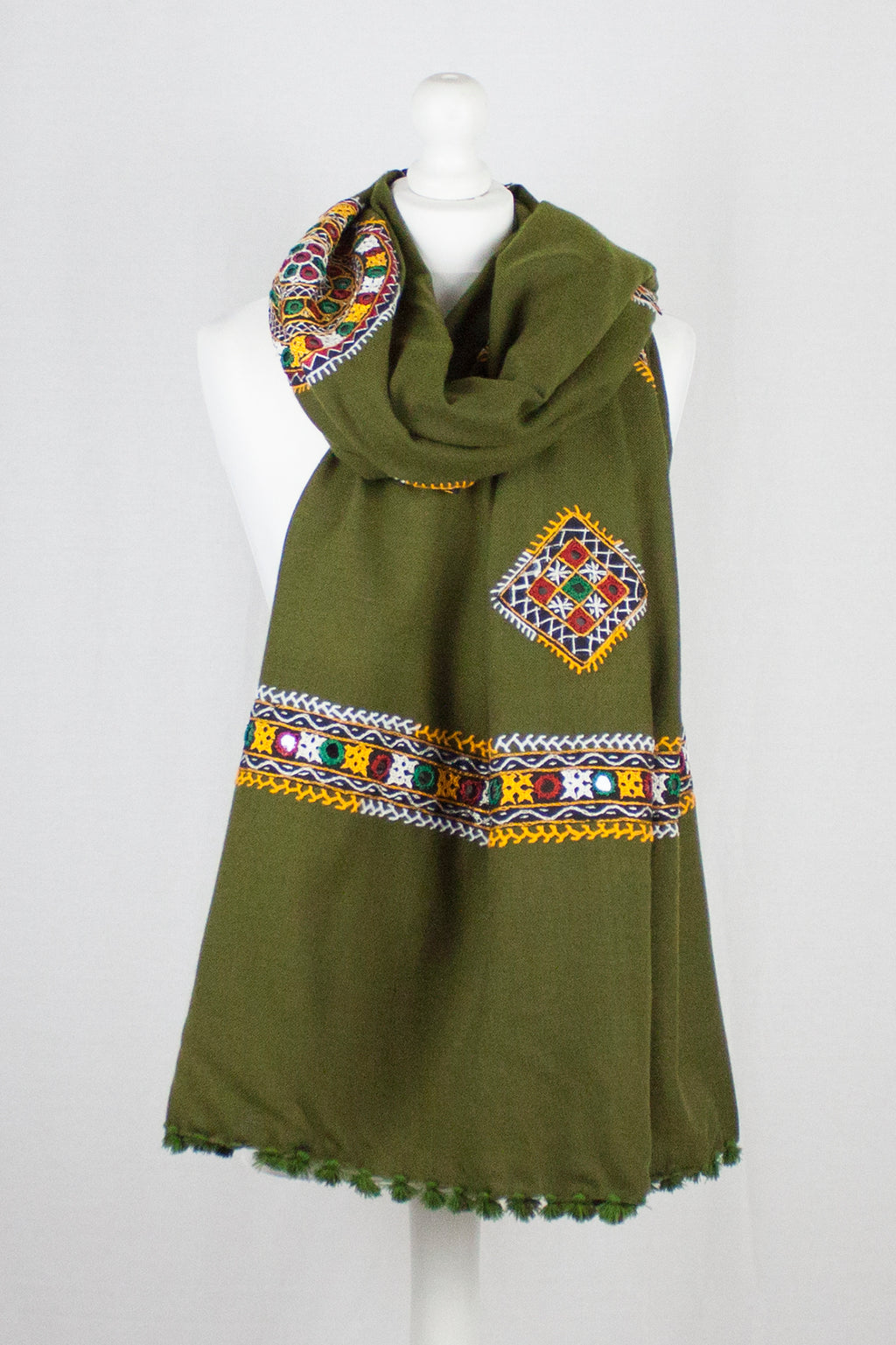 Sindh Embroidery Wool Shawl - Olive Green