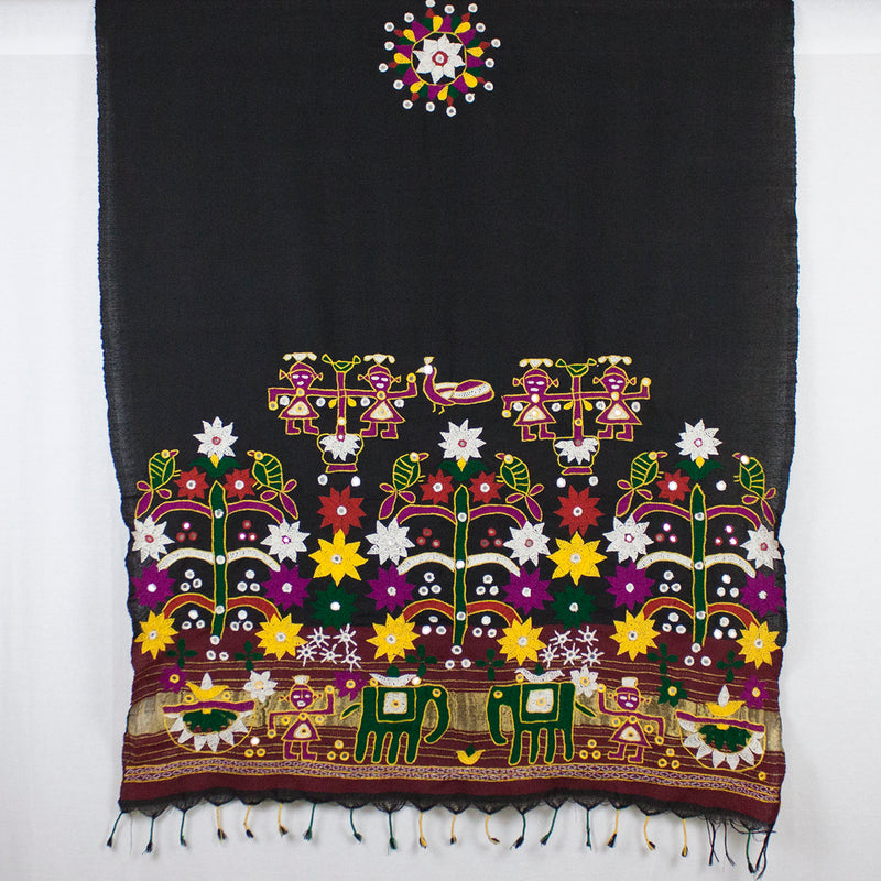 Traditional Kutch Rabari Embroidery Wool Shawl - Black