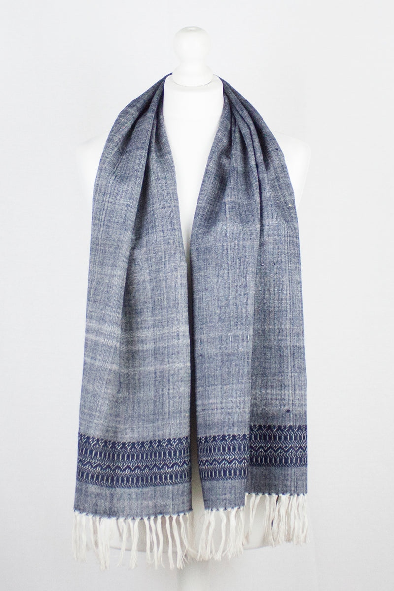 Embroidered Cotton Handwoven Scarf -  Blue
