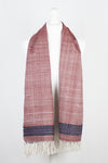 Embroidered Cotton Handwoven Scarf -  Red