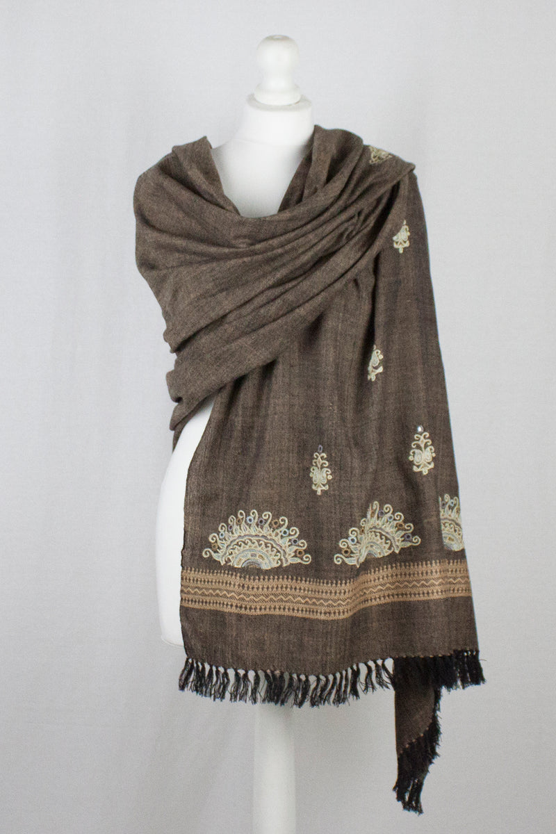 Chain Stitch Embroidered Wool Shawl - Brown Black