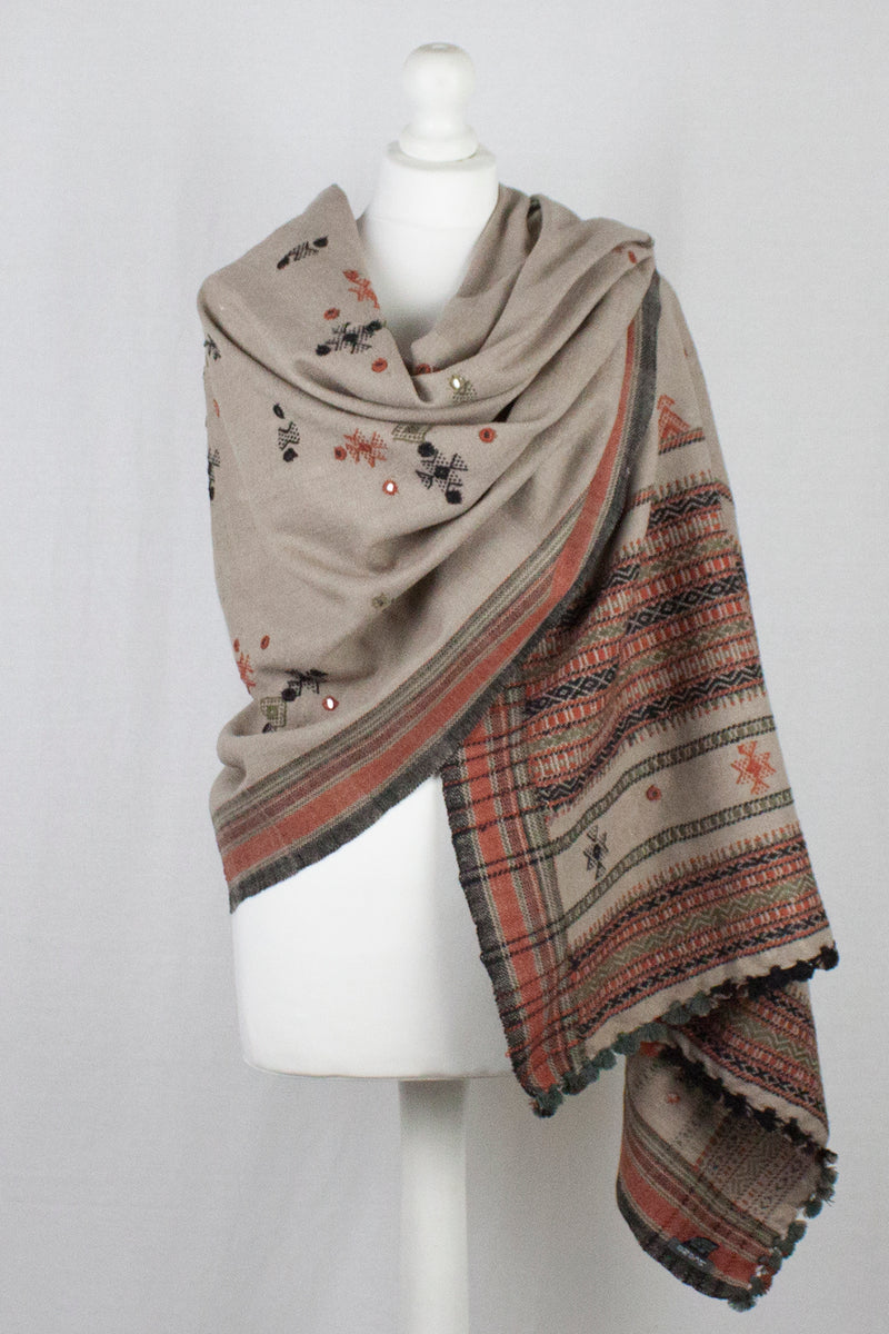 Mirror Work W/Thick Border Embroidery Wool Shawl - Beige Orange