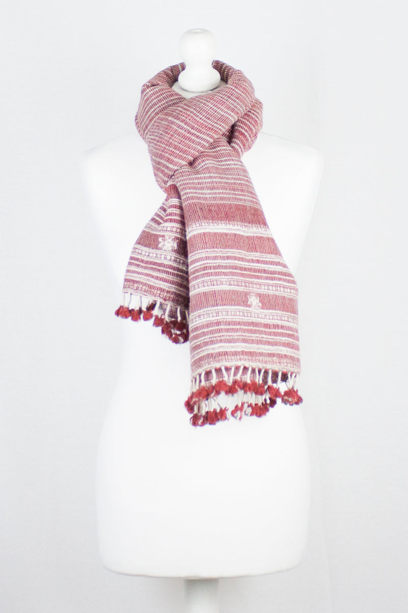 Textured Handwoven Textured Wool Scarf - Red