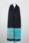 Shibori Dyed Border Wool Shawl - Black Blue