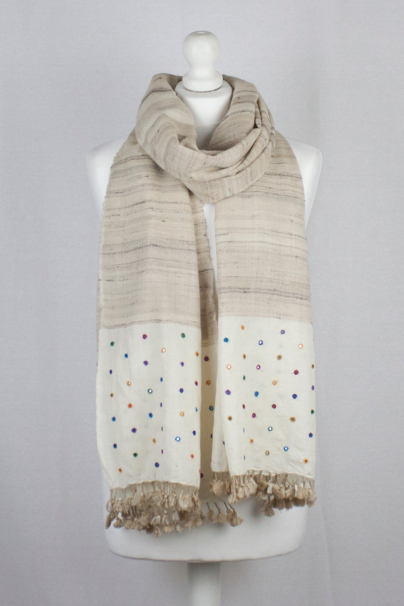 Handwoven Silk Wool Scarf With Mirror Embroidery - Off White
