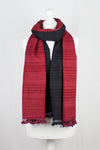 Block Dyed Handwoven Textured Wool Scarf - Red Black