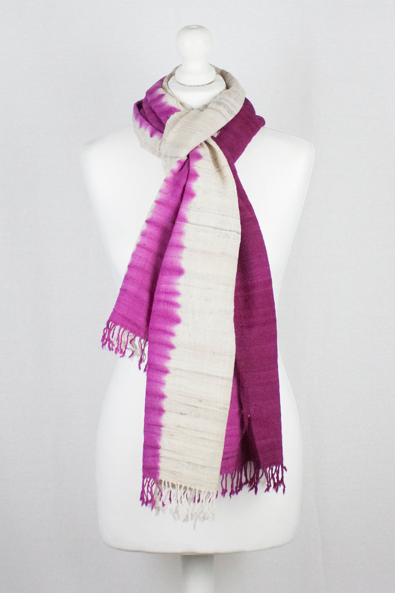 Dip Dyed Handwoven Silk Scarf - Off White Fuschia