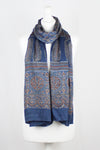 Traditional Geometric & Paisley Ajrakh Block Print Scarf - Blue Red