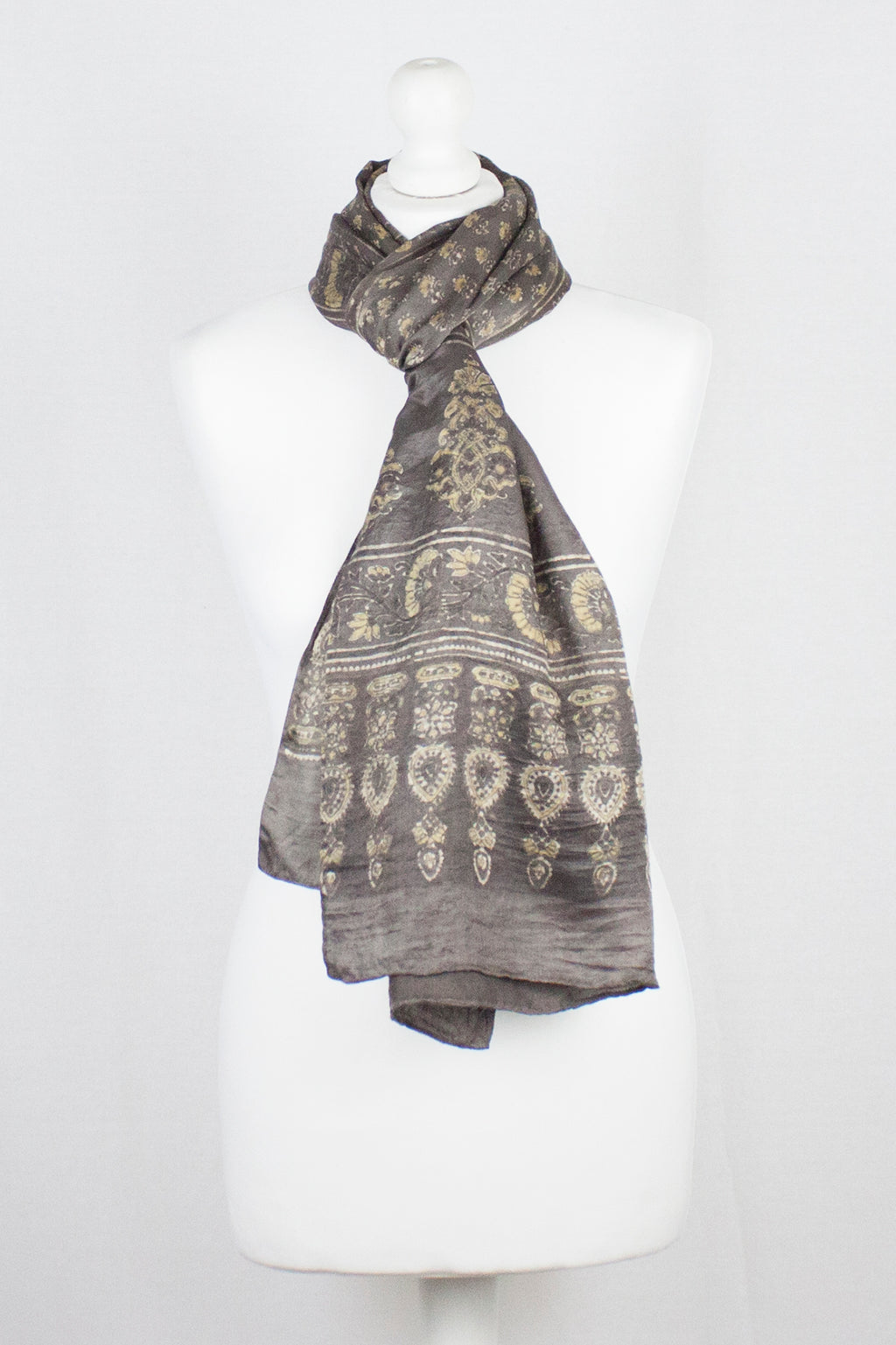 Ditsy Flower Ajrakh Print Silk Scarf - Brown Yellow