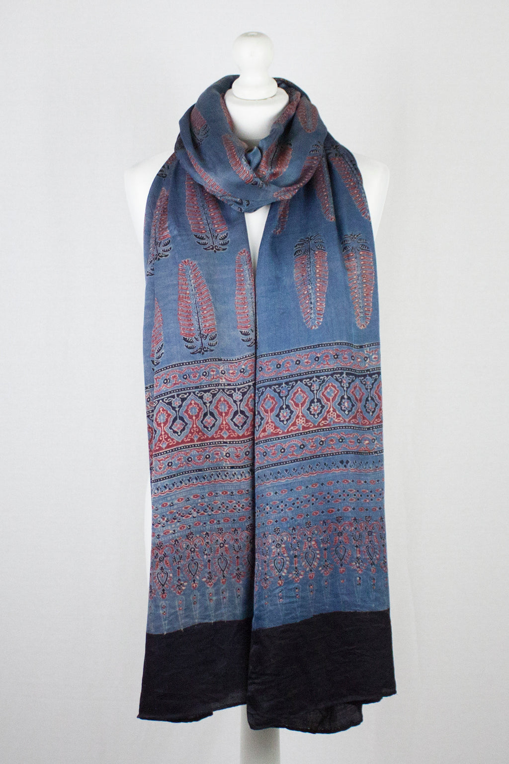 Tree Motif Ajrakh Print Silk Scarf - Blue Red
