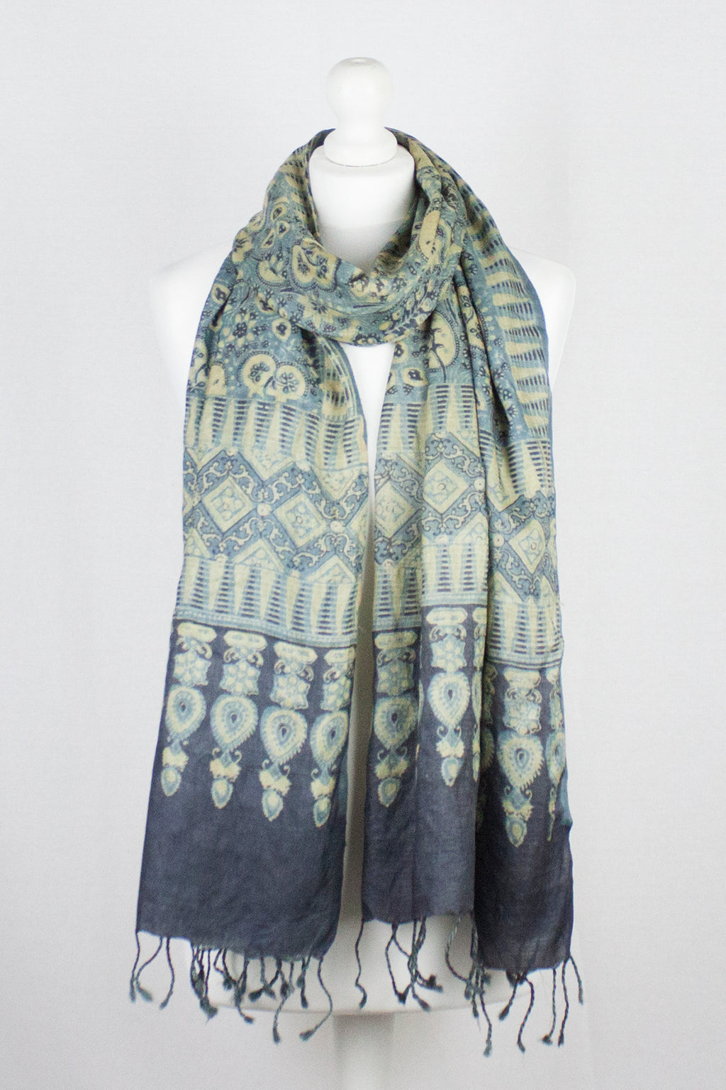 Leaf & Flower Ajrakh Print Silk Scarf w/ Tassels - Sea Green