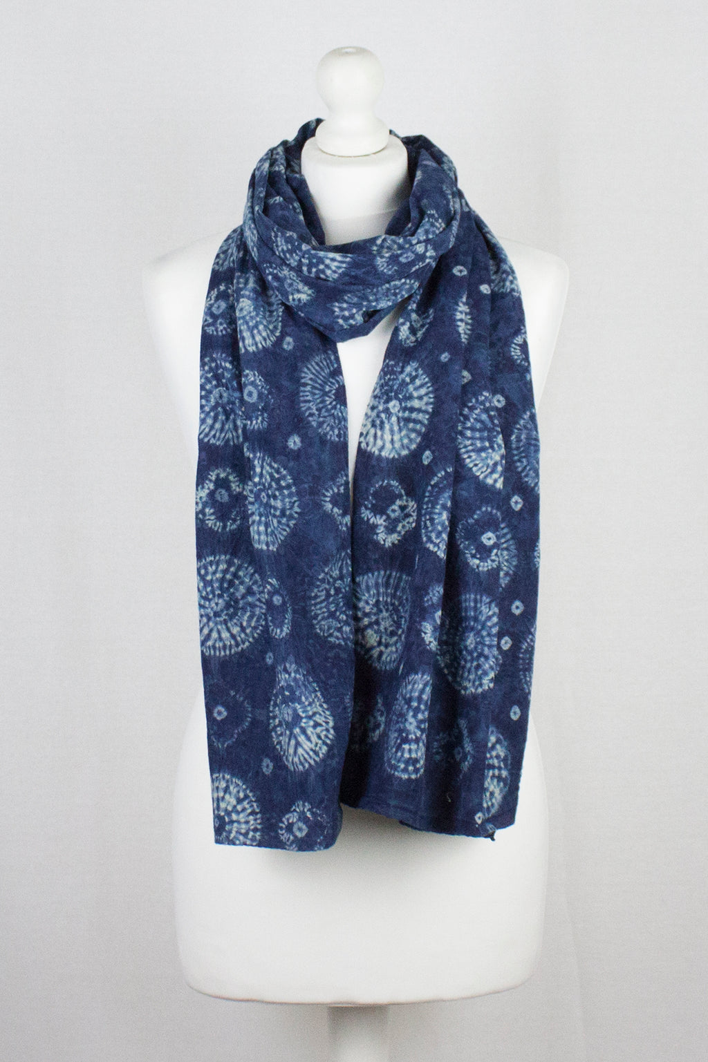 Shibori Tie Dye  Cotton Scarf - Blue Circle