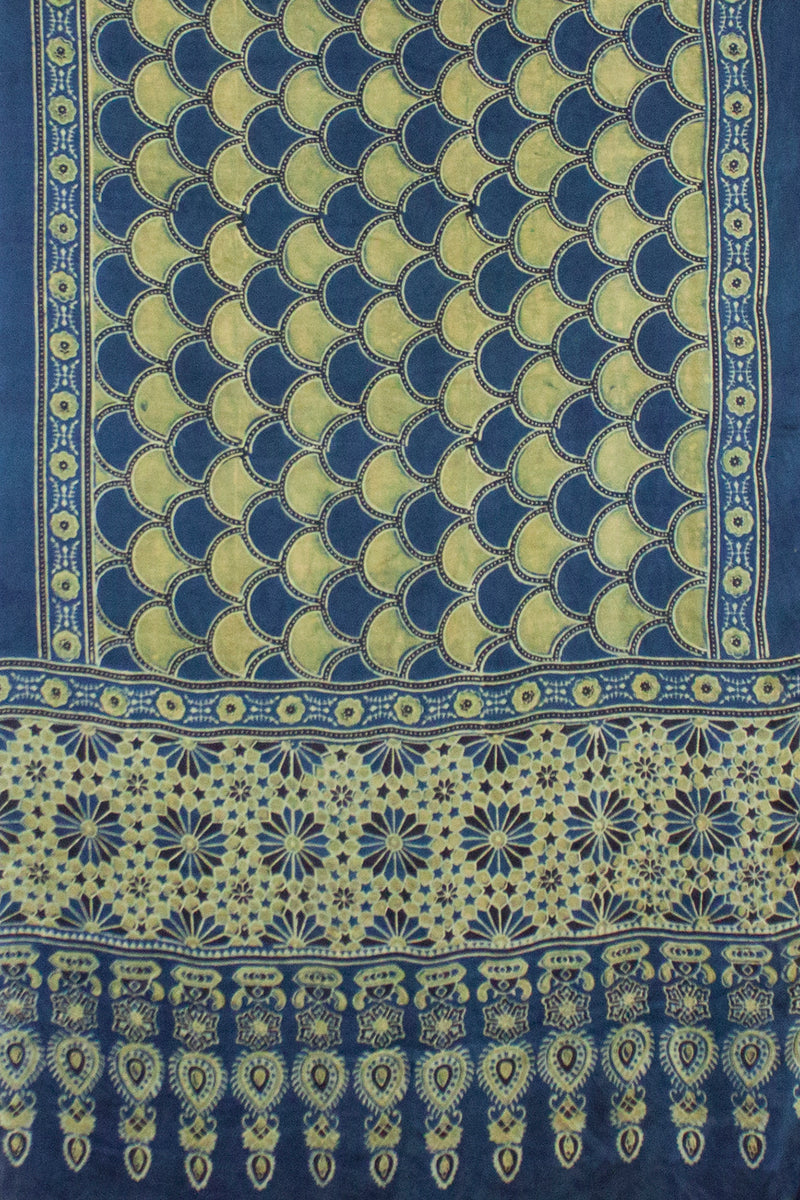 Sea Shell Ajrakh Block Print Scarf - Teal Yellow