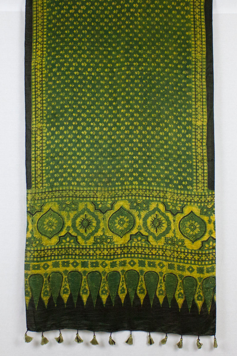 Ditsy Flower Ajrakh Block Print Silk Scarf - Green Yellow