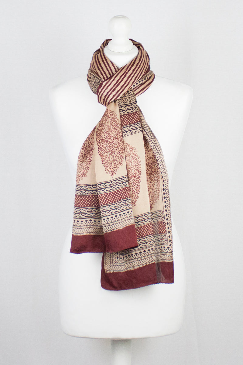 Edgy Stripes Print Bagh Hand-block Print Silk Scarf - Red