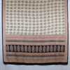Leaf Print Bagh Hand-block Print Silk Scarf - Off White Black