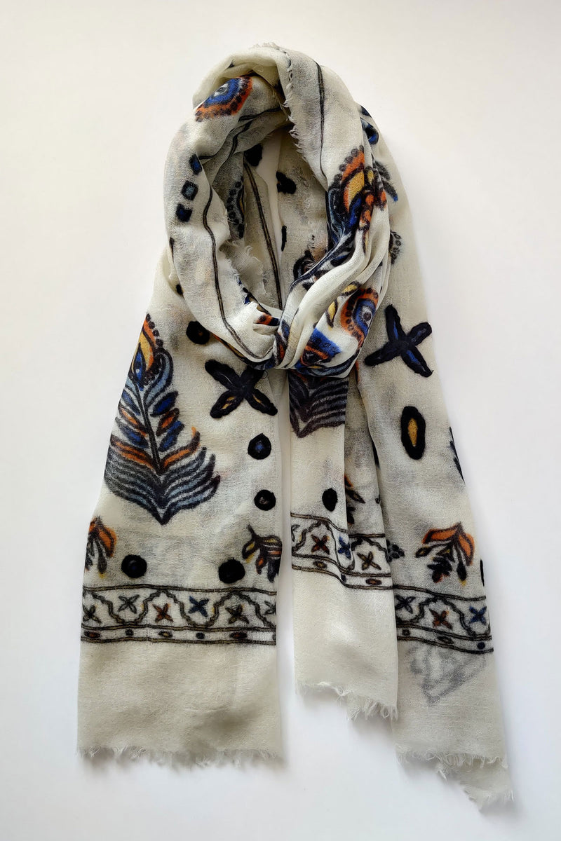 Feather Print with Woolen Embroidery Merino Wool Scarf - Off White