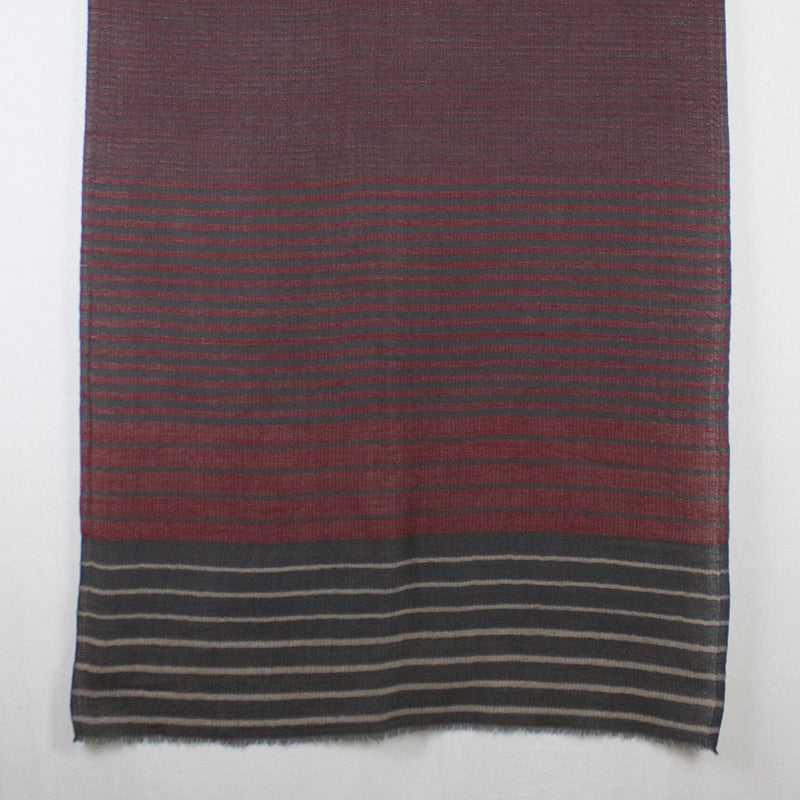 Reversible Stripes Merino Wool Scarf - Red Multi