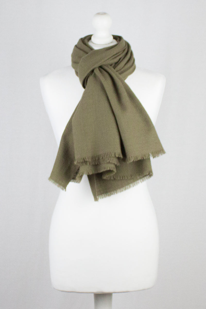 Diamond Weave Merino Wool Scarf - Olive