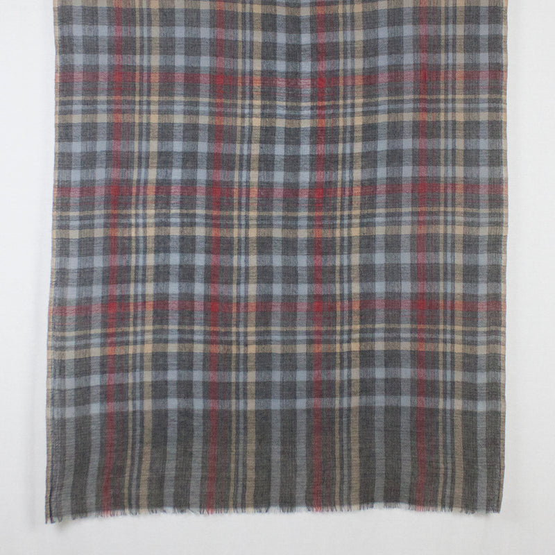 Yarn Dyed Checks Diamond Weave Merino Wool Scarf - Stone Grey Multi