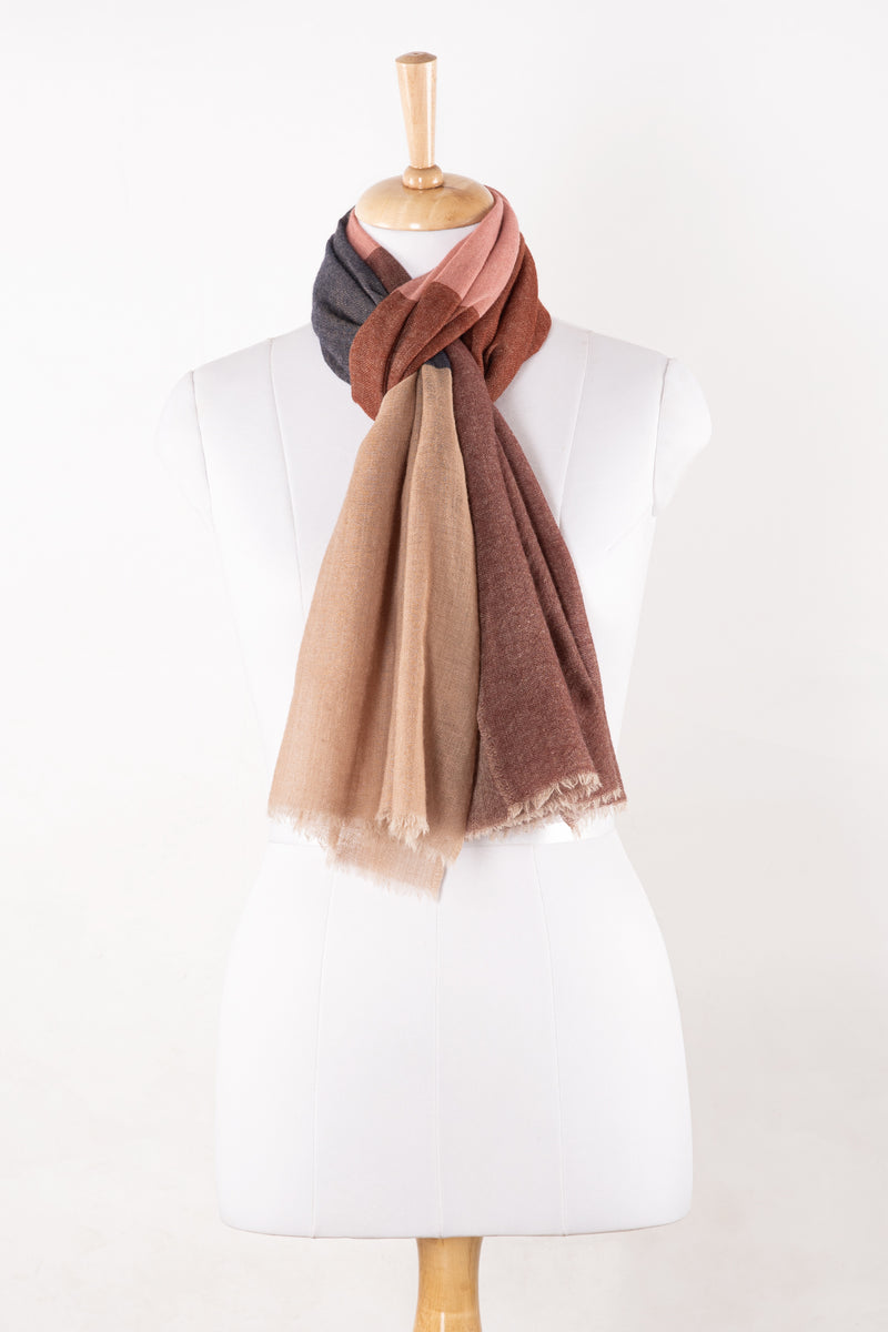 SVEZE Twill Weave Colour Block Merino Wool Scarf - Beige Pink Red - Regular Drape