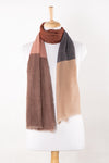 SVEZE Twill Weave Colour Block Merino Wool Scarf - Beige Pink Red - Alternate Drape