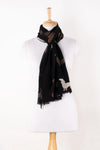 Sveze - Dog Print Merino Wool Scarf - Black - Alternate Drape