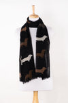 Sveze - Dog Print Merino Wool Scarf - Black - Regular Drape