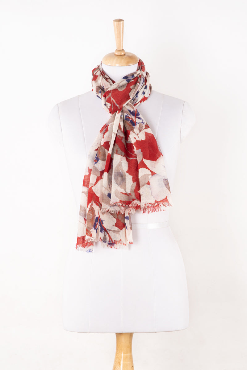 Sveze - Bold Floral Merino Wool Scarf - White Red - Alternate Drape