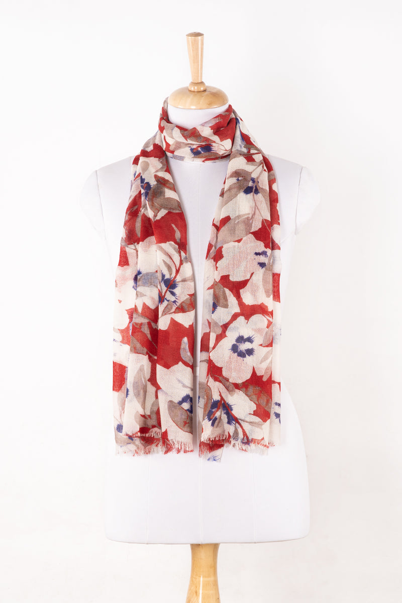 Sveze - Bold Floral Merino Wool Scarf - White Red - Regular Drape