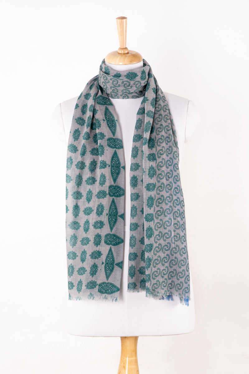 Sveze - Print Mix Merino Wool Scarf - Grey Green - Regular Drape