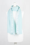 Twill Weave w/ Silver Lurex Border Merino Wool Scarf - Mint Green