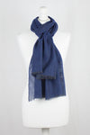 Herringbone Weave Two Tone Merino Wool Scarf - Blue