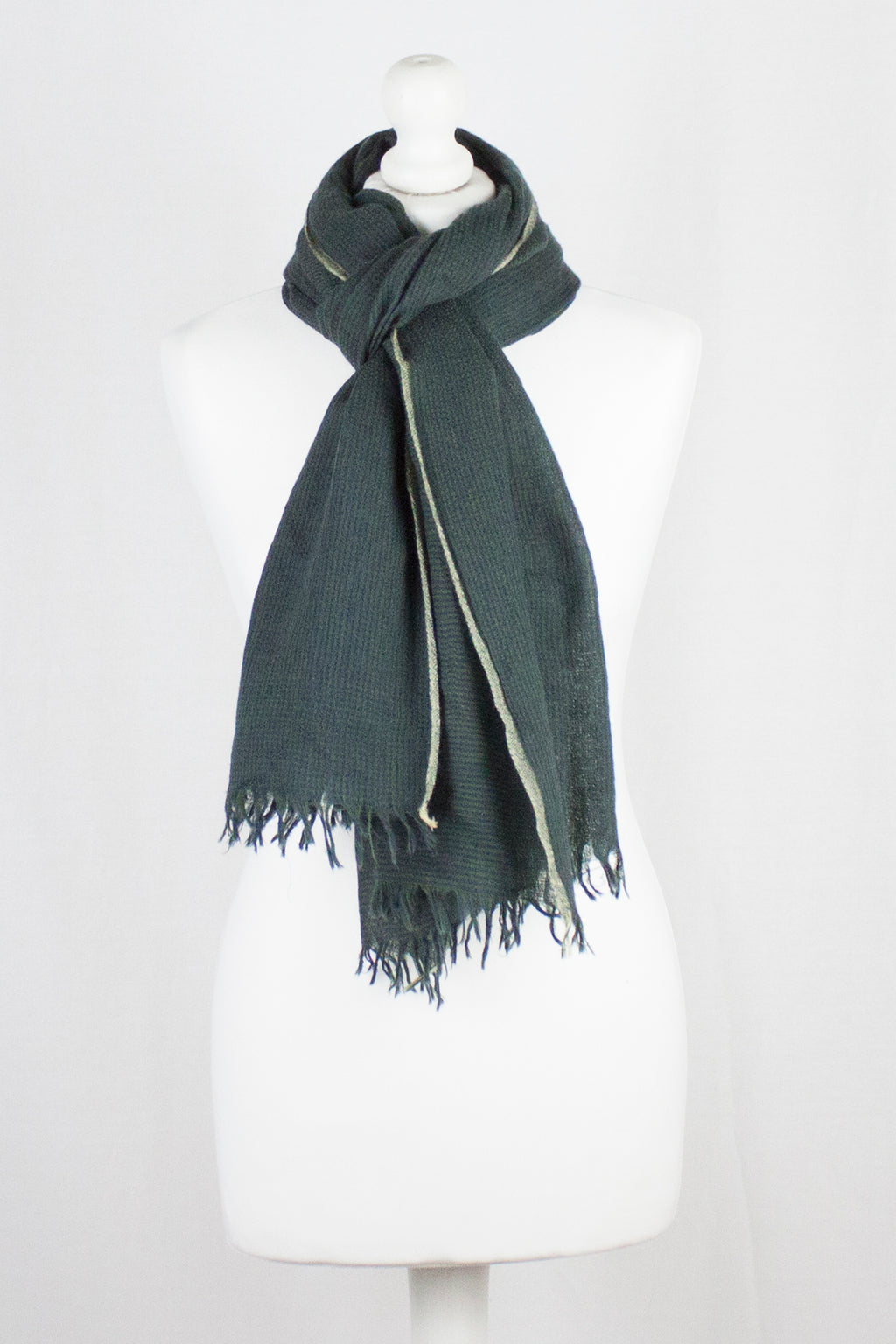 Novelty Weave Two Tone Merino Wool Scarf - Green Navy