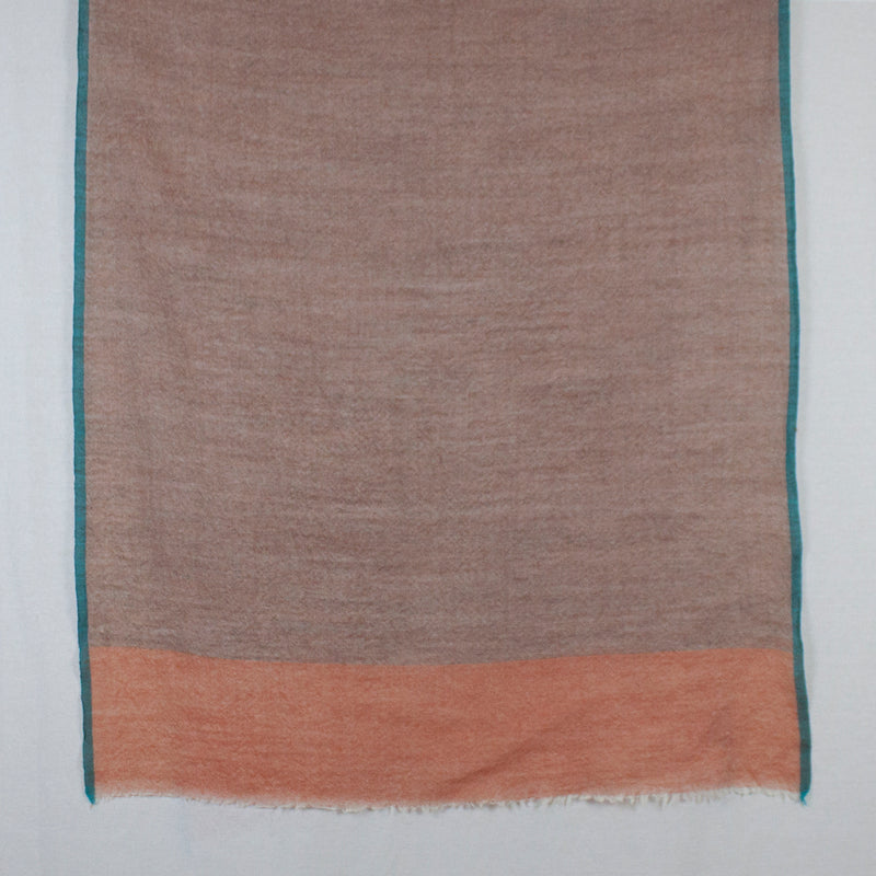 Twill Weave Two Tone Merino Wool Scarf - Orange Teal