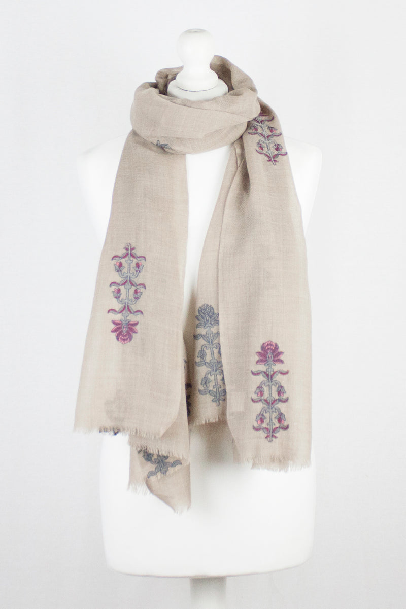 Floral Embroidered Merino Wool Scarf - Beige