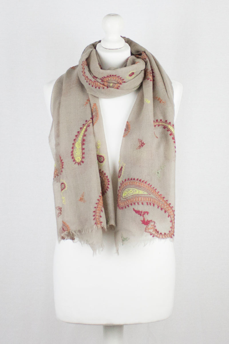 Red Paisley Embroidered Merino Wool Scarf - Sand