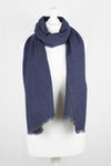 Novelty Chevron Weave Two Tone Merino Wool Scarf - Navy Grey