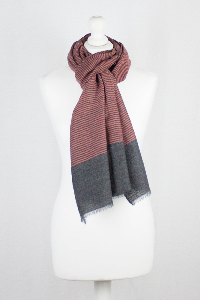 Pinstripes Merino Wool Scarf - Red Grey