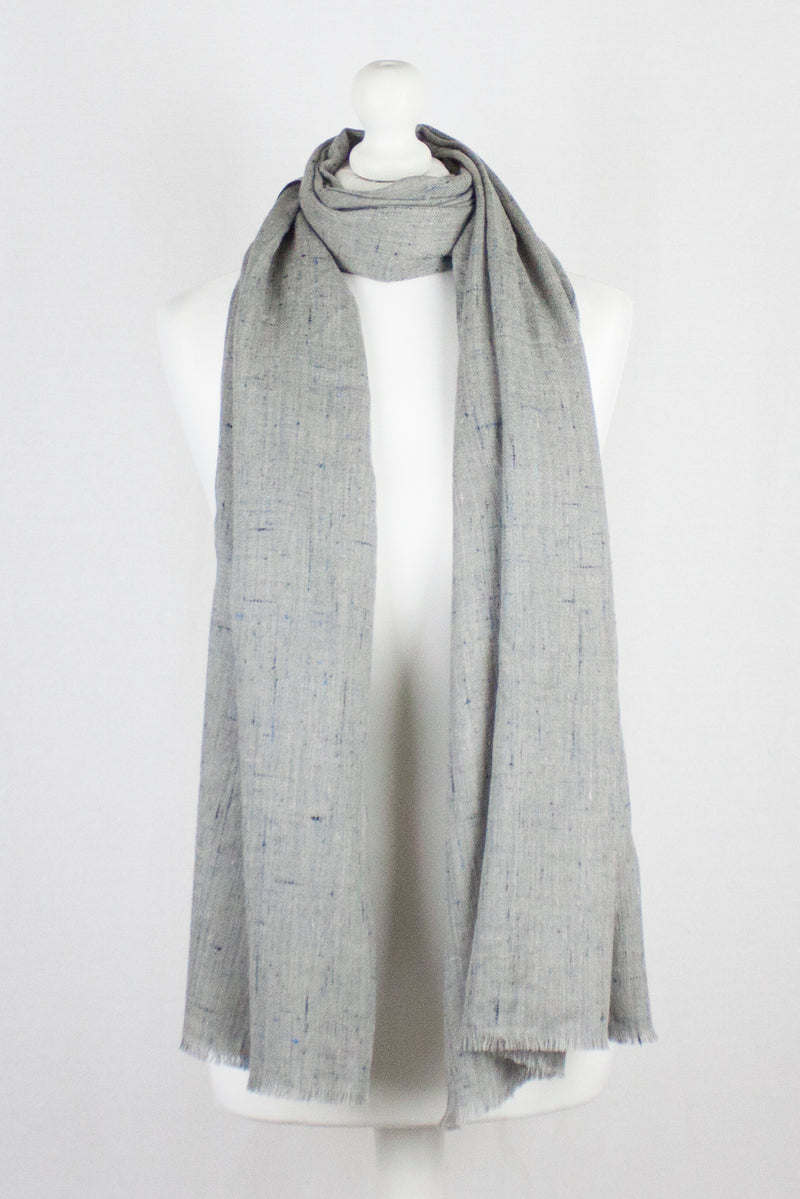 Colored Slub Merino Wool Scarf - Grey
