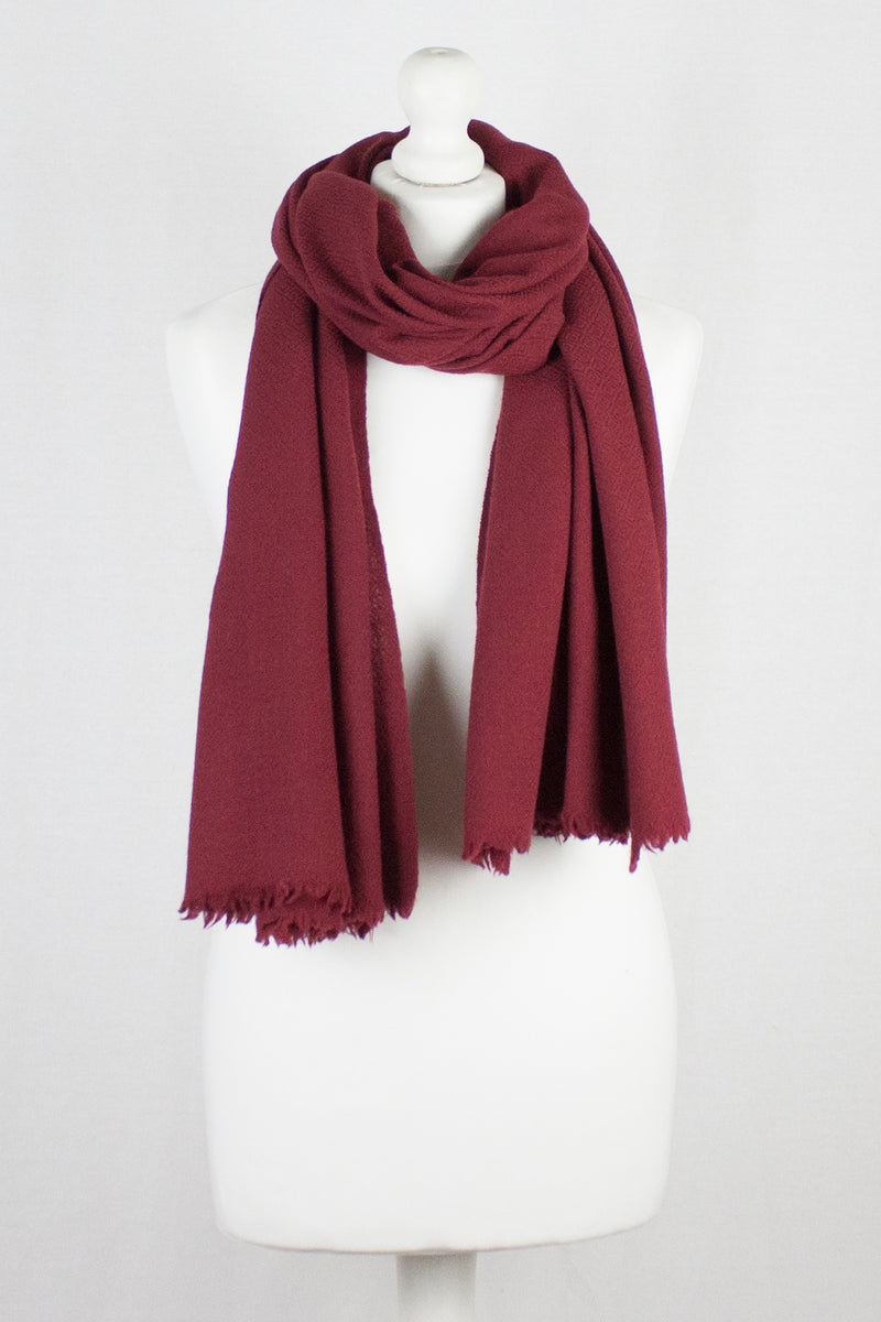Diamond Weave Merino Wool Scarf - Red
