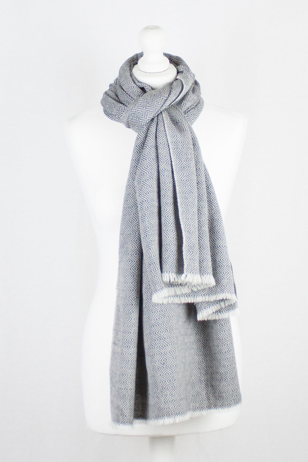 Diamond Weave Two Tone Woollen Scarf - Grey