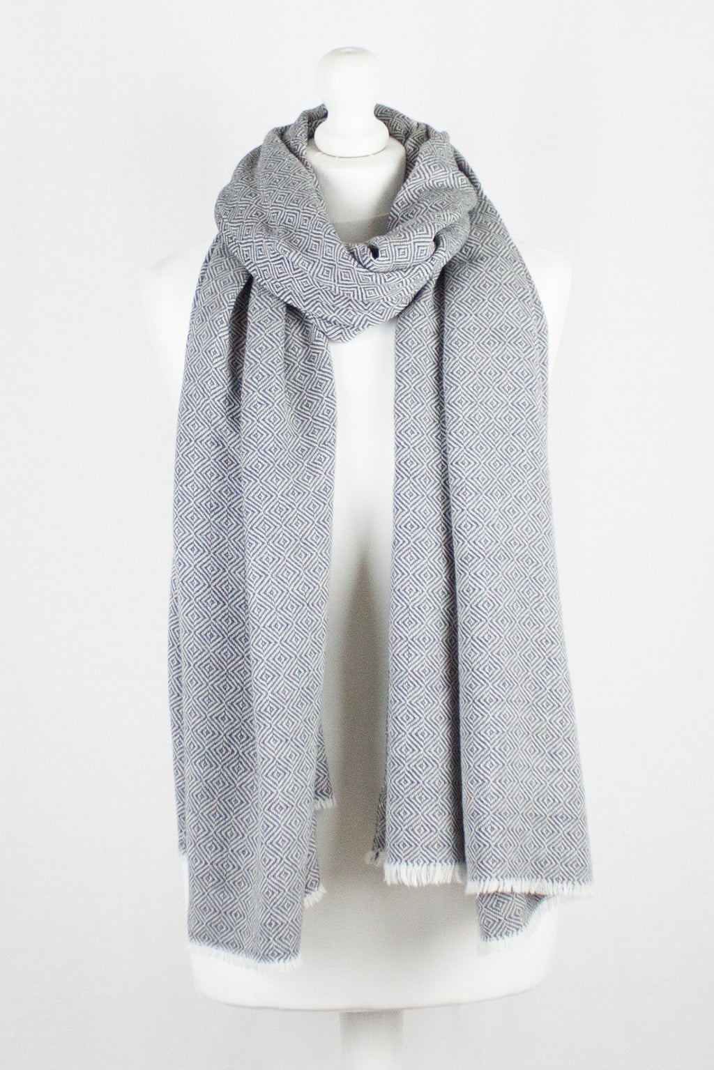 Alpine Merino Diamond Weave Two Tone Wool Scarf - Grey