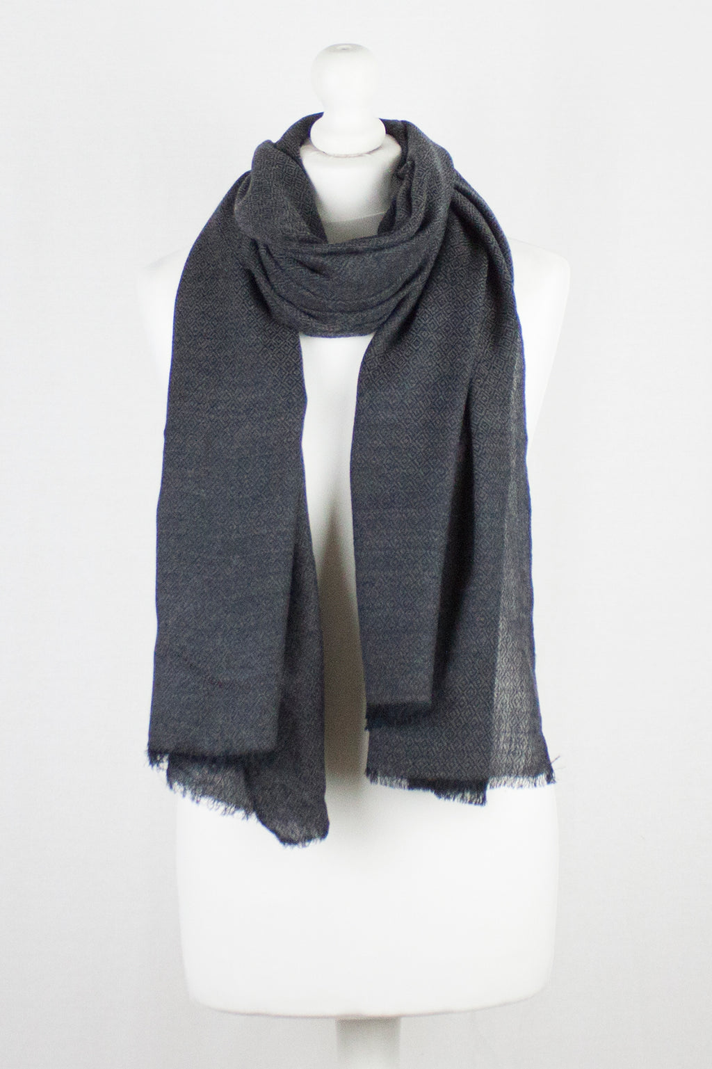 Diamond Weave Two Tone Merino Wool Scarf - Charcoal
