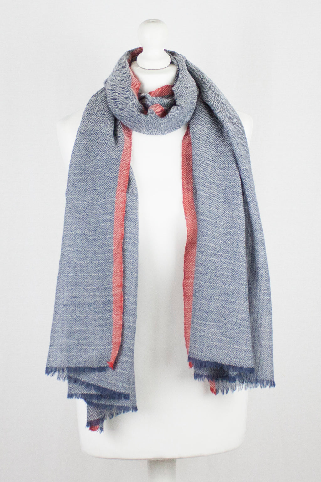 Diamond Weave Two Tone Merino Wool Scarf - Chambray Blue