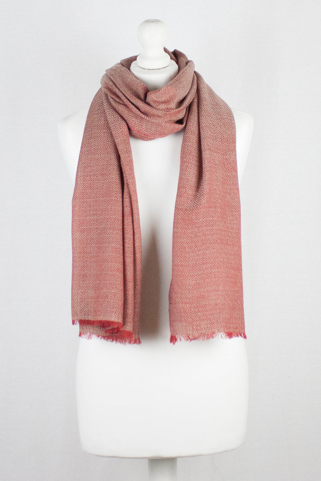 Diamond Weave Two Tone Merino Wool Scarf - Red